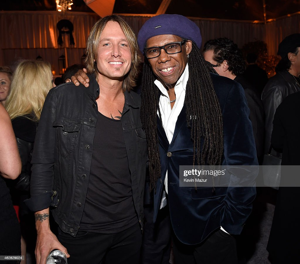 Keith Urban and Nile Rodgers attend event honoring Nile Rodgers for his Recording Academy producers award at Private Residence on February 5 2015 in...