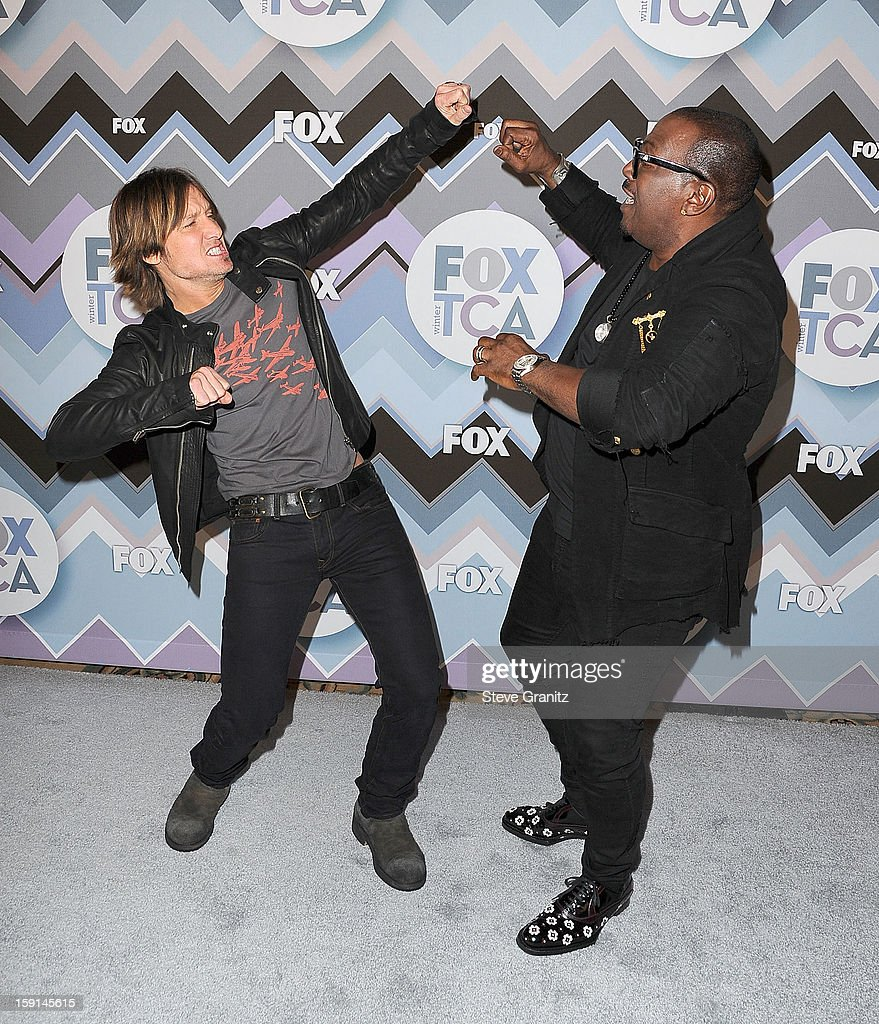 <a gi-track='captionPersonalityLinkClicked' href=/galleries/search?phrase=Keith+Urban&family=editorial&specificpeople=202997 ng-click='$event.stopPropagation()'>Keith Urban</a> and Randy Jackson arrives at the 2013 TCA Winter Press Tour - FOX All-Star Party at The Langham Huntington Hotel and Spa on January 8, 2013 in Pasadena, California.
