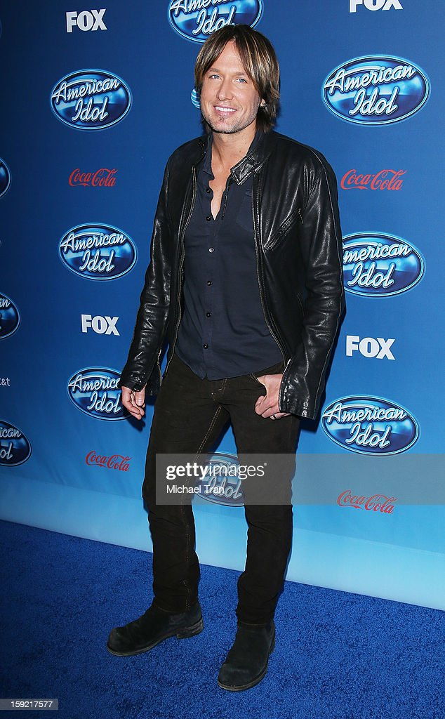 Keith Urban arrives at American Idol Season 12 premiere event held at Royce Hall UCLA on January 9, 2013 in Westwood, California.