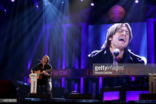 Keith Urban is inducted into The Grand Ole Opry on April 21 2012 in Nashville Tennessee