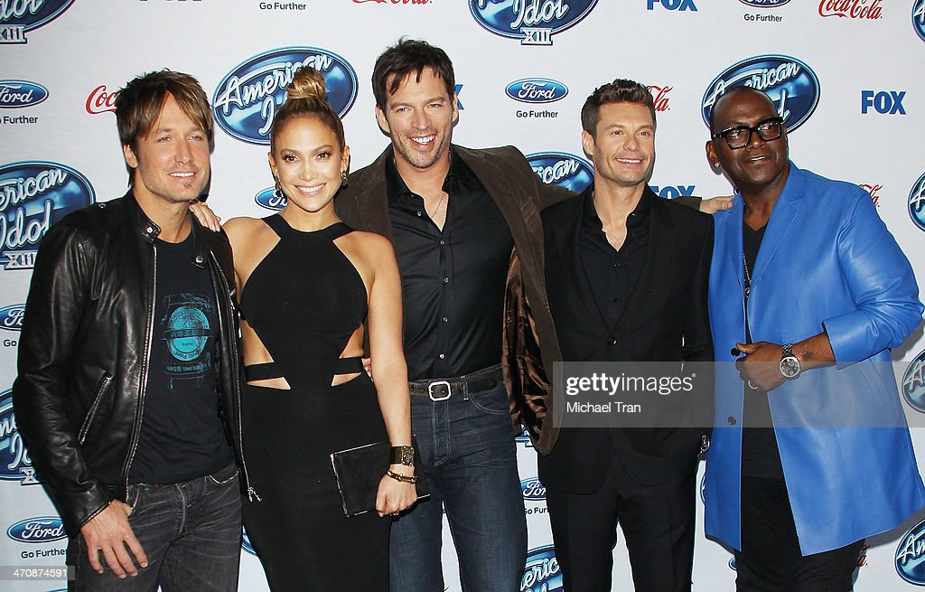 <a gi-track='captionPersonalityLinkClicked' href=/galleries/search?phrase=Keith+Urban&family=editorial&specificpeople=202997 ng-click='$event.stopPropagation()'>Keith Urban</a>, <a gi-track='captionPersonalityLinkClicked' href=/galleries/search?phrase=Jennifer+Lopez&family=editorial&specificpeople=201784 ng-click='$event.stopPropagation()'>Jennifer Lopez</a>, <a gi-track='captionPersonalityLinkClicked' href=/galleries/search?phrase=Harry+Connick+Jr&family=editorial&specificpeople=211285 ng-click='$event.stopPropagation()'>Harry Connick Jr</a>., <a gi-track='captionPersonalityLinkClicked' href=/galleries/search?phrase=Ryan+Seacrest&family=editorial&specificpeople=201694 ng-click='$event.stopPropagation()'>Ryan Seacrest</a> and Randy Jackson arrive at Fox's 'American Idol XIII' finalists party held at Fig & Olive Melrose Place on February 20, 2014 in West Hollywood, California.