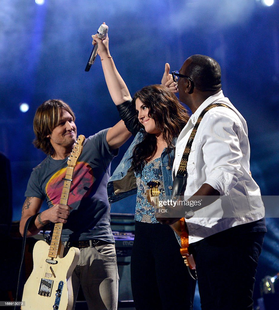 <a gi-track='captionPersonalityLinkClicked' href=/galleries/search?phrase=Keith+Urban&family=editorial&specificpeople=202997 ng-click='$event.stopPropagation()'>Keith Urban</a>, Kree Harrison and Randy Jackson perform onstage at FOX's 'American Idol' Season 12 Live Finale Show at Nokia Theatre L.A. Live on May 16, 2013 in Los Angeles, California.