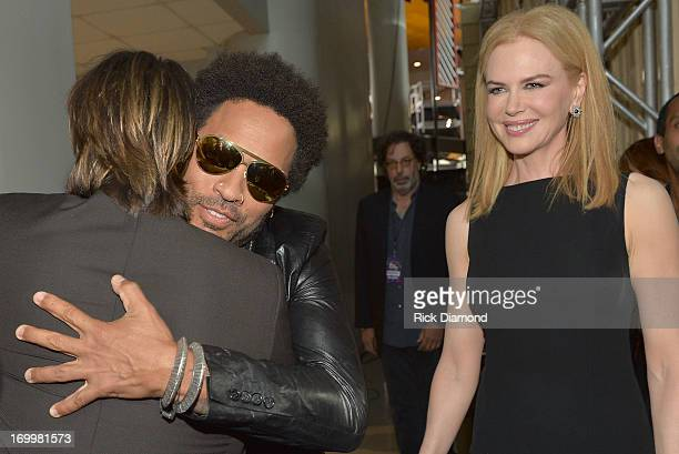 Keith Urban Lenny Kravitz and Nicole Kidman attend the 2013 CMT Music awards at the Bridgestone Arena on June 5 2013 in Nashville Tennessee