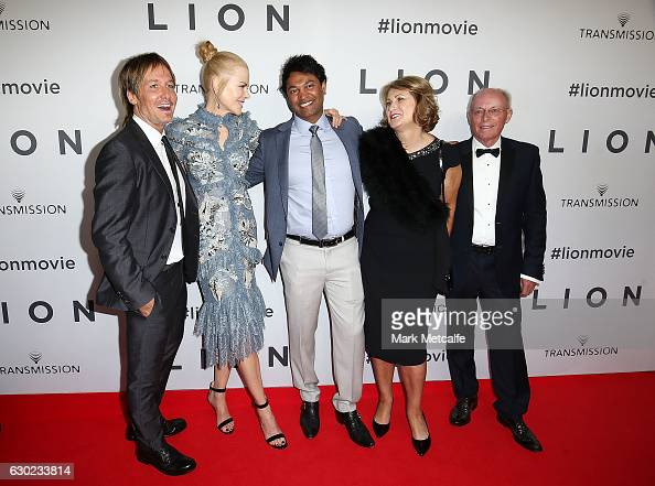 Keith Urban Nicole Kidman Saroo Brierley Sue Brierley and John Brierley arrive ahead of the Australian premiere of LION at State Theatre on December...
