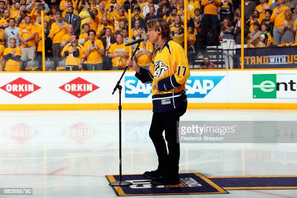 Keith Urban performs the national anthem prior to Game Three of the Western Conference Final between the Anaheim Ducks and the Nashville Predators...