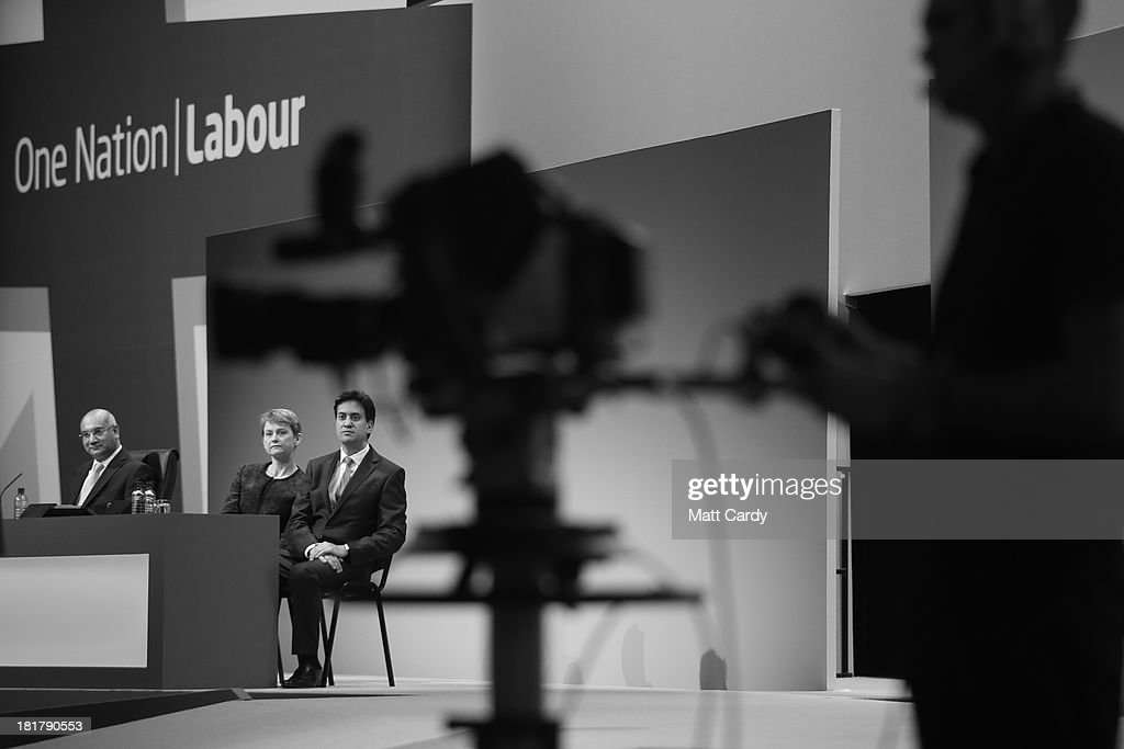 Keith Vaz, deputy party leader Harriet Harman, and party leader Ed Miliband listen to a speaker at the Labour Party conference on September 25, 2013 in Brighton, England. Today was the last day of opposition Labour Party's annual conference in the southern English coastal town.