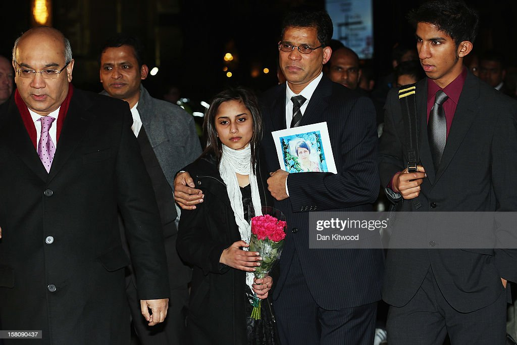 Keith Vaz (L) walks with the daughter Lisha, husband Ben Barboza and son Junal of nurse Jacinta Saldanha, as they arrive at the Houses of Parliament on December 10, 2012 in London, England. <a gi-track='captionPersonalityLinkClicked' href=/galleries/search?phrase=Jacintha+Saldanha&family=editorial&specificpeople=10060250 ng-click='$event.stopPropagation()'>Jacintha Saldanha</a> was one of two hospital staff who were responsible for inadvertently revealing details of the pregnant duchess's medical condition to two Australian DJs, and was subsequently found dead.