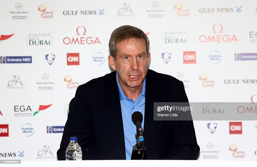 Keith Waters, Chief Executive Officer European Tour address the media, as Gary Player is named as host of the Nedbank Golf Challenge which will be the second leg of the European Tour's Final series during the third round of the Omega Dubai Desert Classic on the Majlis Course at the Emirates Golf Club on February 6, 2016 in Dubai, United Arab Emirates.