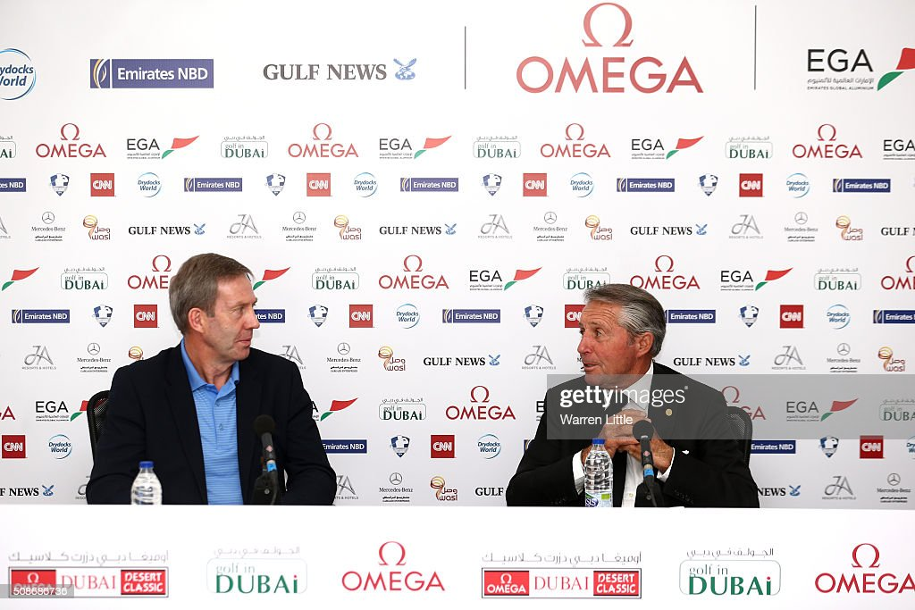 Keith Waters, Chief Executive Officer European Tour and <a gi-track='captionPersonalityLinkClicked' href=/galleries/search?phrase=Gary+Player&family=editorial&specificpeople=203189 ng-click='$event.stopPropagation()'>Gary Player</a> of South Africa address the media, as <a gi-track='captionPersonalityLinkClicked' href=/galleries/search?phrase=Gary+Player&family=editorial&specificpeople=203189 ng-click='$event.stopPropagation()'>Gary Player</a> is named as host of the Nedbank Golf Challenge which will be the second leg of the European Tour's Final series during the third round of the Omega Dubai Desert Classic on the Majlis Course at the Emirates Golf Club on February 6, 2016 in Dubai, United Arab Emirates.