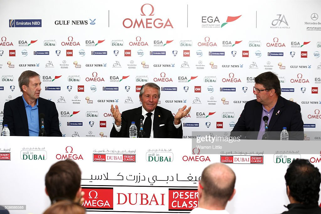 Keith Waters, Chief Executive Officer European Tour, <a gi-track='captionPersonalityLinkClicked' href=/galleries/search?phrase=Gary+Player&family=editorial&specificpeople=203189 ng-click='$event.stopPropagation()'>Gary Player</a> of South Africa and Grant Wilson, Chief Executive Officer Sunshine Tour address the media, as Garu Player id named named as host of the Nedbank Golf Challenge which will be the second leg of the European Tour's Final series during the third round of the Omega Dubai Desert Classic on the Majlis Course at the Emirates Golf Club on February 6, 2016 in Dubai, United Arab Emirates.