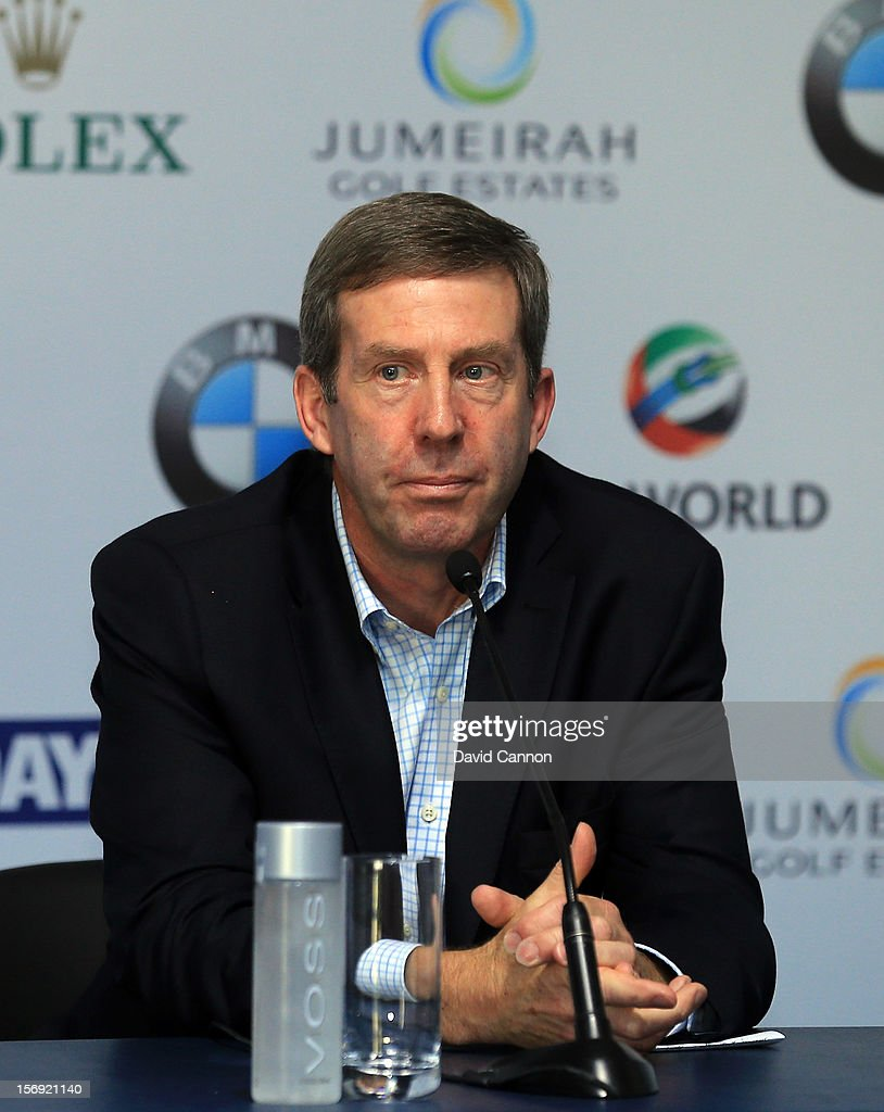 Keith Waters the Chief Operating Officer of the European Tour at the press conference to announce the 2013 European Tour International Schedule during the final round of the 2012 DP World Tour Championship on the Earth Course at Jumeirah Golf Estates on November 25, 2012 in Dubai, United Arab Emirates.