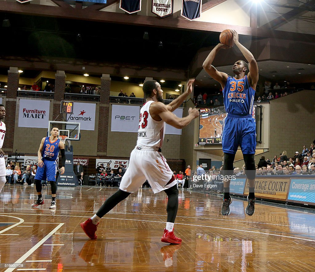 Keith Wright #35 of the Westchester Knicks spots up for a jumper over <a gi-track='captionPersonalityLinkClicked' href=/galleries/search?phrase=Jabril+Trawick&family=editorial&specificpeople=8627465 ng-click='$event.stopPropagation()'>Jabril Trawick</a> #23 of the Sioux Falls Skyforce during their NBA D-League playoff game at the Sanford Pentagon April 8, 2016 in Sioux Falls, South Dakota.