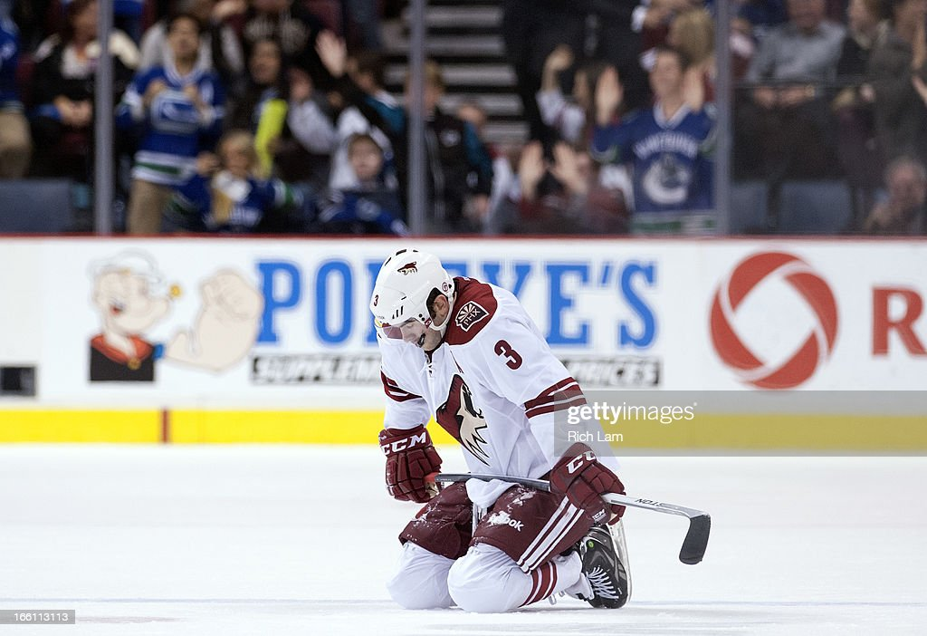 Keith Yandle #3 of the Phoenix Coyotes kneels on the ice after the Vancouver Canucks scored their second goal of the game during the third period in NHL action on April 08, 2013 at Rogers Arena in Vancouver, British Columbia, Canada.