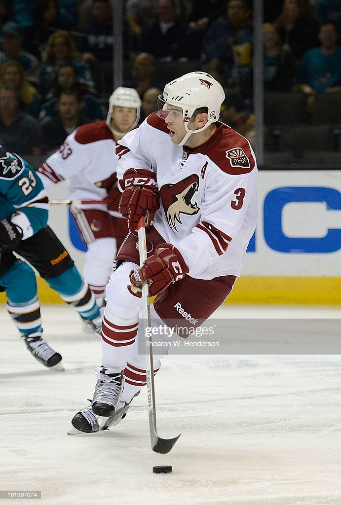 Keith Yandle #3 of the Phoenix Coyotes skates with control of the puck against the San Jose Sharks at HP Pavilion on February 9, 2013 in San Jose, California.