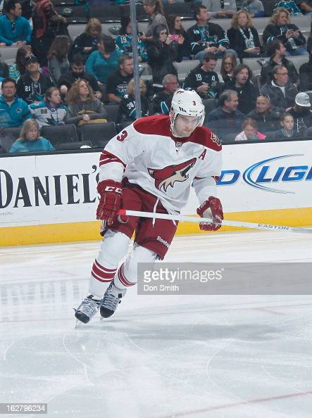 Keith Yandle of the Phoenix Coyotes warms up before a game against the San Jose Sharks during an NHL game on February 9 2013 at HP Pavilion in San...
