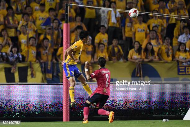 Keiya Shiihashi of Vegalta Sendai head the ball to score his side's third goal during the JLeague J1 match between Cerezo Osaka and Vegalta Sendai at...