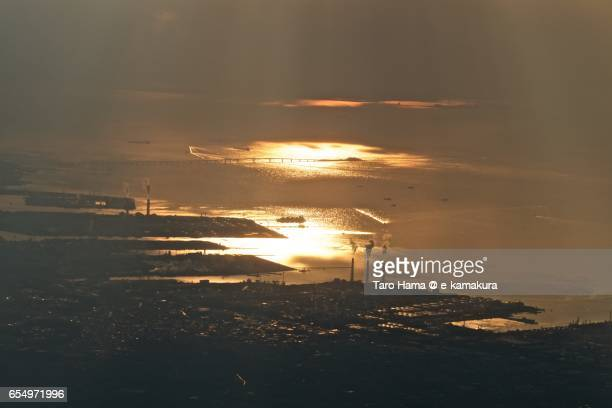 Keiyo factory area in Chiba, sunset time aerial view from airplane