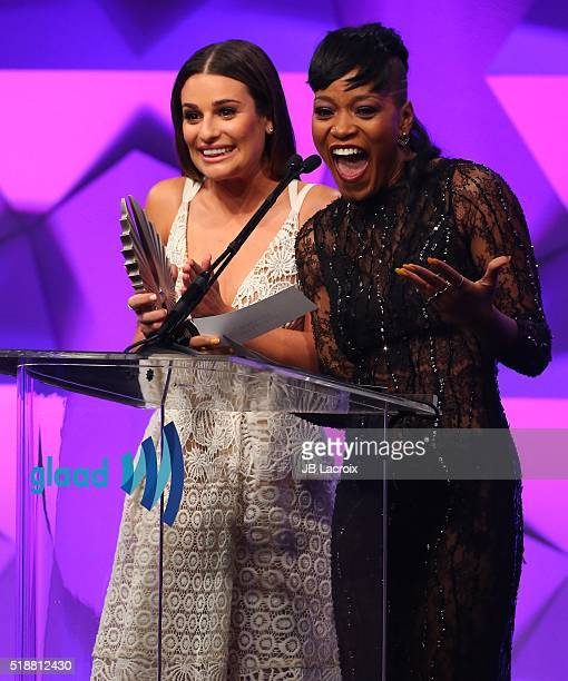 Keke Palmer and Lea Michele attend the 27th Annual GLAAD Media Awards held at the Beverly Hilton Hotel on April 02 2016 in Beverly Hills California