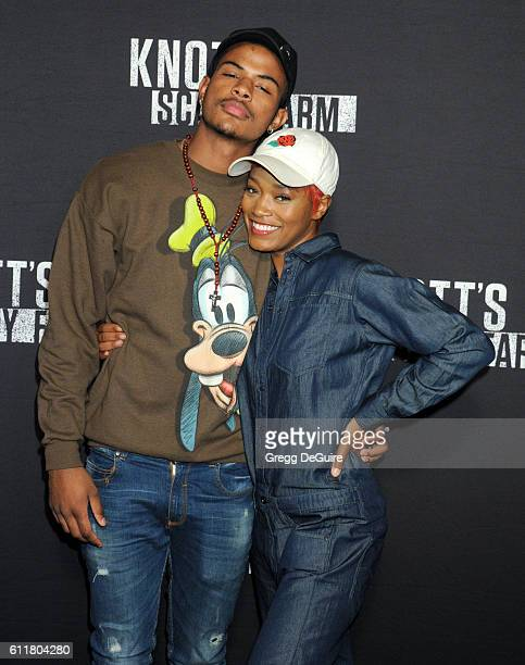 Keke Palmer and Trevor Jackson arrive at the Knott's Scary Farm Black Carpet Event at Knott's Berry Farm on September 30 2016 in Buena Park California