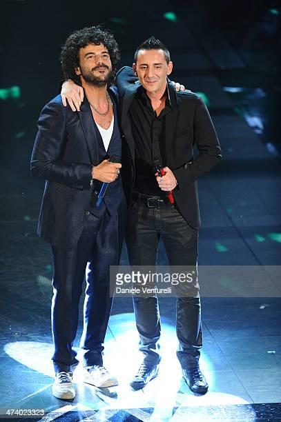 Kekko Moda and Francesco Renga attend fourth night of the 64th Festival di Sanremo 2014 at Teatro Ariston on February 21 2014 in Sanremo Italy