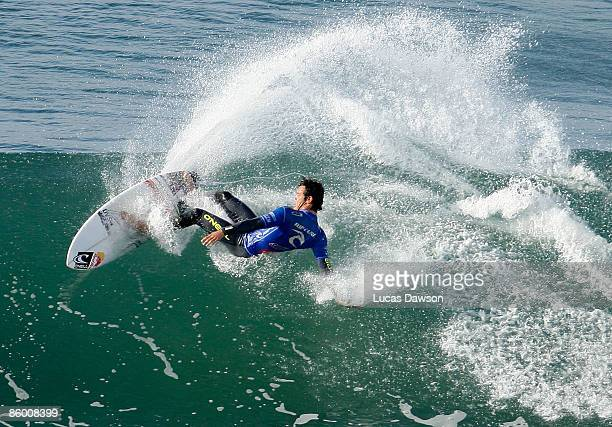 Kekoa Bacalso of Hawaii surfs in the Semi Final of the Rip Curl Pro on April 17 2009 in Bells Beach Australia