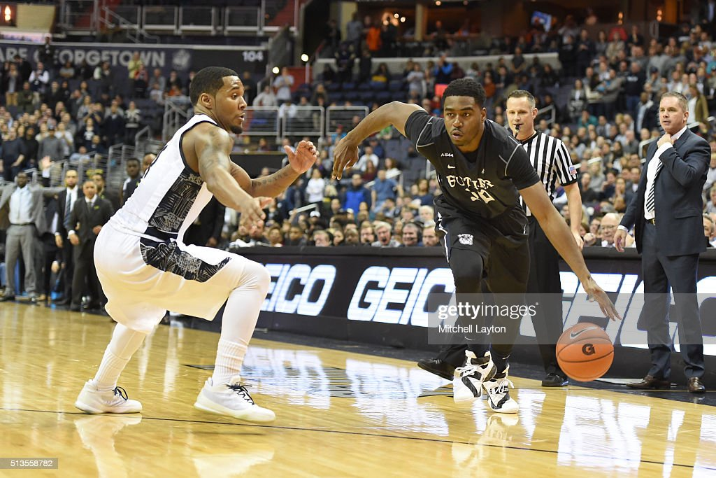 Kelan Martin #30 of the Butler Bulldogs dribbles by <a gi-track='captionPersonalityLinkClicked' href=/galleries/search?phrase=D%27Vauntes+Smith-Rivera&family=editorial&specificpeople=9966427 ng-click='$event.stopPropagation()'>D'Vauntes Smith-Rivera</a> #4 of the Georgetown Hoyas during a college basketball game at the Verizon Center on February 29, 2016 in Washington, DC. The Bulldogs won 90-87 in overtime.