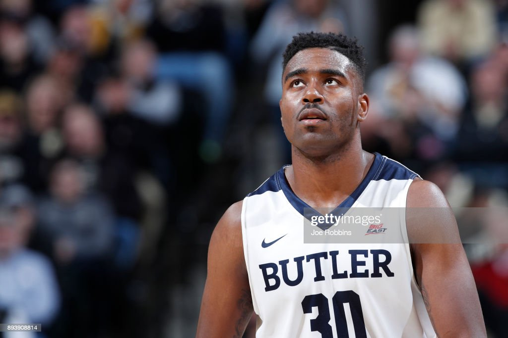 Kelan Martin #30 of the Butler Bulldogs reacts against the Purdue Boilermakers in the second half of the Crossroads Classic at Bankers Life Fieldhouse on December 16, 2017 in Indianapolis, Indiana. Purdue won 82-67.
