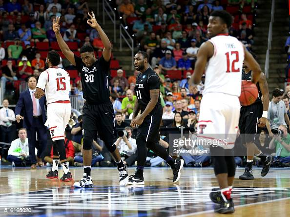 Kelan Martin of the Butler Bulldogs reacts in the second half against the Texas Tech Red Raiders in the first round of the 2016 NCAA Men's Basketball...