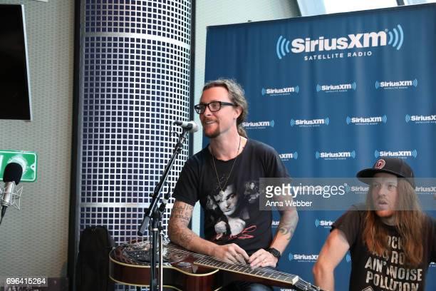 Kelby Ray and Neil Mason of The Cadillac Three Visits SiriusXM Studios In Nashville at SiriusXM Studios on June 15 2017 in Nashville Tennessee