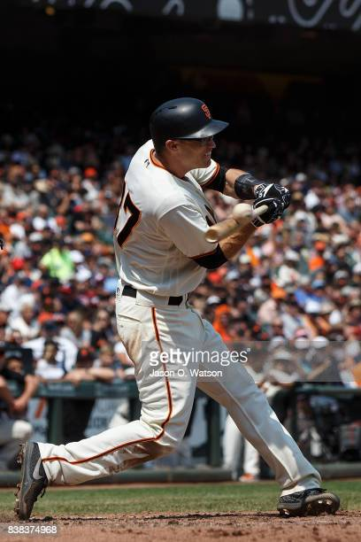 Kelby Tomlinson of the San Francisco Giants at bat against the Philadelphia Phillies during the fourth inning at ATT Park on August 20 2017 in San...