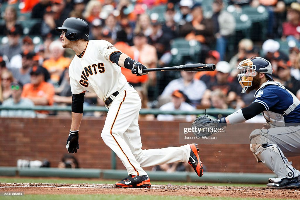 <a gi-track='captionPersonalityLinkClicked' href=/galleries/search?phrase=Kelby+Tomlinson&family=editorial&specificpeople=7682512 ng-click='$event.stopPropagation()'>Kelby Tomlinson</a> #37 of the San Francisco Giants hits an RBI single against the San Diego Padres during the second inning at AT&T Park on May 25, 2016 in San Francisco, California.