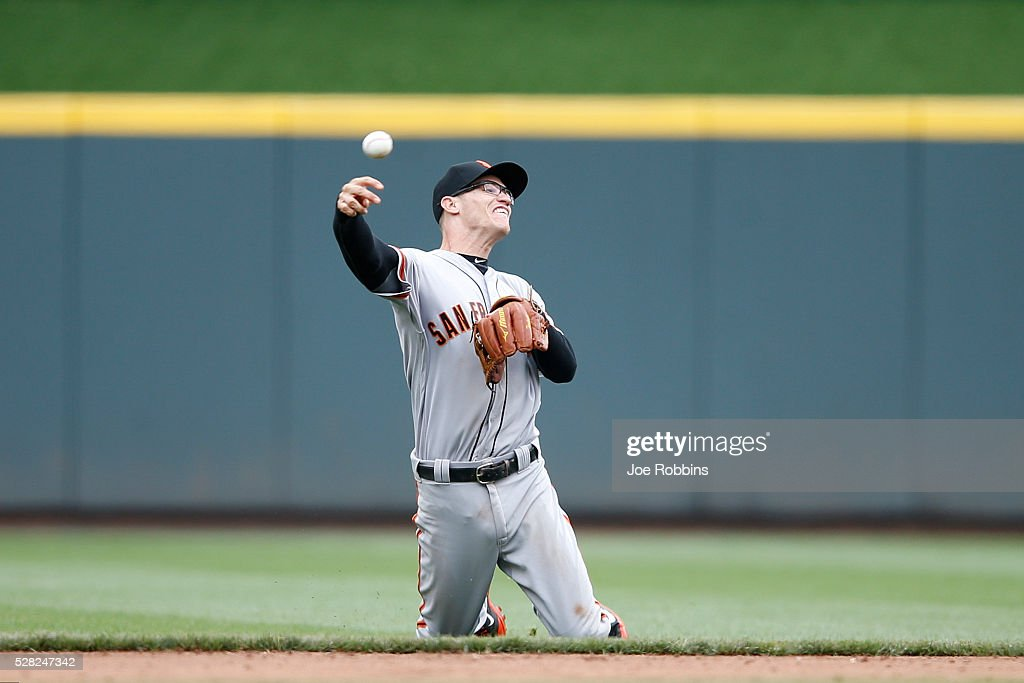 <a gi-track='captionPersonalityLinkClicked' href=/galleries/search?phrase=Kelby+Tomlinson&family=editorial&specificpeople=7682512 ng-click='$event.stopPropagation()'>Kelby Tomlinson</a> #37 of the San Francisco Giants tries to make a play from his knees after fielding the ball against the Cincinnati Reds in the eighth inning of the game at Great American Ball Park on May 4, 2016 in Cincinnati, Ohio. The Reds defeated the Giants 7-4.