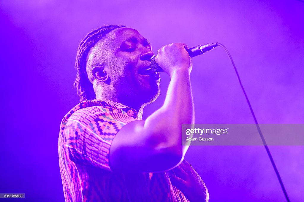 Kele Okereke from Bloc Party performs on the third day of the BBC 6 Music Festival at the O2 Academy on February 14, 2016 in Bristol, England.