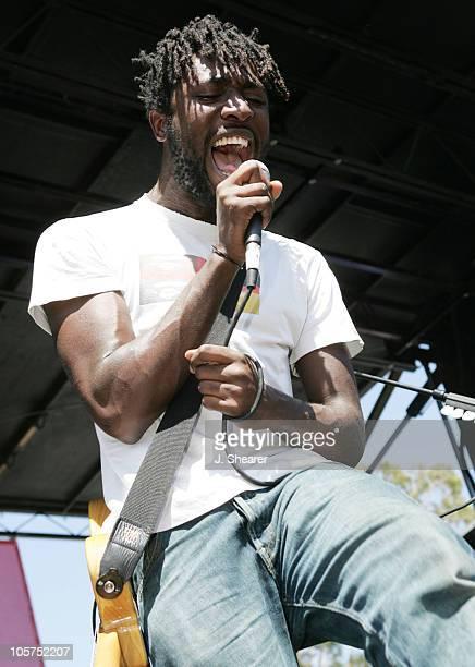 Kele Okereke of Bloc Party during The 1067 KROQ 'Weenie Roast' Concert 2005 Show at Verizon Wireless Amphitheatre in Irvine California United States