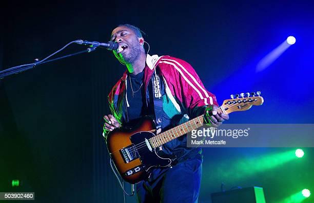 Kele Okereke of Bloc Party performs at Enmore Theatre on January 7 2016 in Sydney Australia