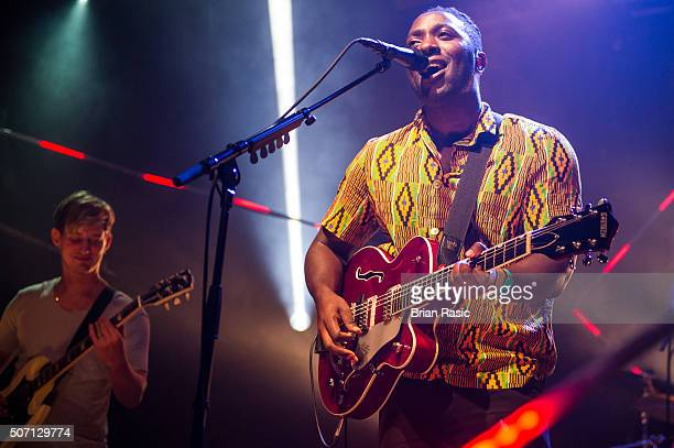 Kele Okereke of Bloc Party performs at MTV Brand New at Electric Ballroom on January 27 2016 in London England