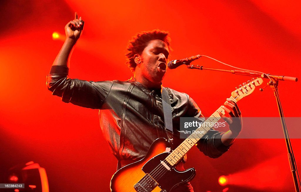 <a gi-track='captionPersonalityLinkClicked' href=/galleries/search?phrase=Kele+Okereke&family=editorial&specificpeople=224770 ng-click='$event.stopPropagation()'>Kele Okereke</a> of Bloc Party performs live on stage at Earls Court on February 22, 2013 in London, England.