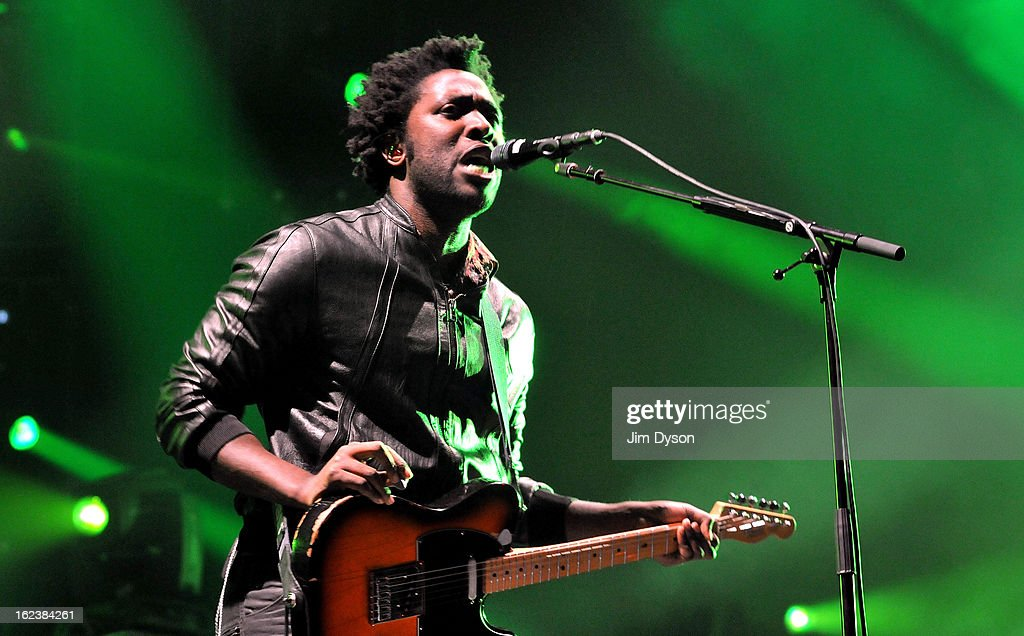 Kele Okereke of Bloc Party performs live on stage at Earls Court on February 22, 2013 in London, England.