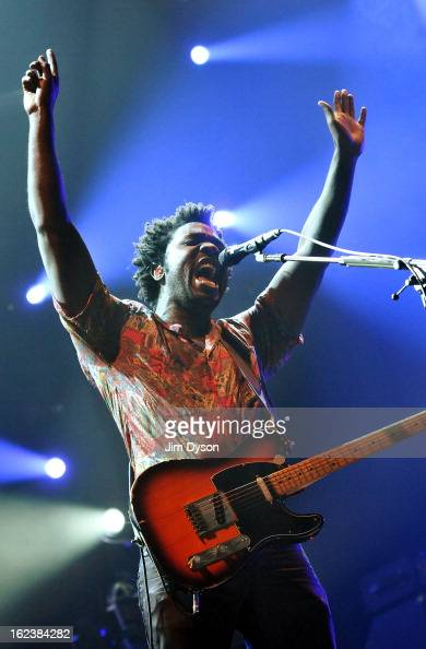 Kele Okereke of Bloc Party performs live on stage at Earls Court on February 22 2013 in London England