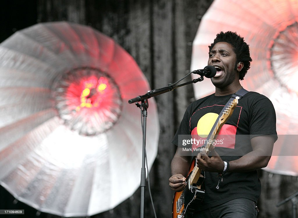 <a gi-track='captionPersonalityLinkClicked' href=/galleries/search?phrase=Kele+Okereke&family=editorial&specificpeople=224770 ng-click='$event.stopPropagation()'>Kele Okereke</a> of Bloc Party performs on Day 1 of the Best Kept Secret Festival at Beekse Bergen on June 21, 2013 in Hilvarenbeek, Netherlands.
