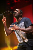 Kele Okereke of Bloc Party performs on stage at O2 Academy on October 13 2012 in Leeds United Kingdom