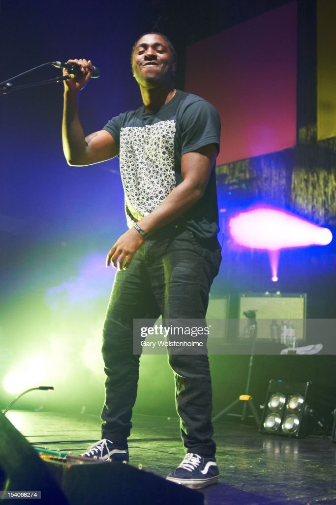 <a gi-track='captionPersonalityLinkClicked' href=/galleries/search?phrase=Kele+Okereke&family=editorial&specificpeople=224770 ng-click='$event.stopPropagation()'>Kele Okereke</a> of Bloc Party performs on stage at O2 Academy on October 13, 2012 in Leeds, United Kingdom.