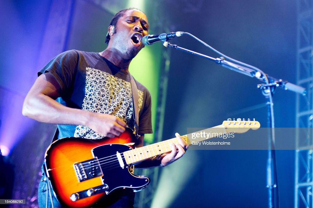 Kele Okereke of Bloc Party performs on stage at O2 Academy on October 13, 2012 in Leeds, United Kingdom.