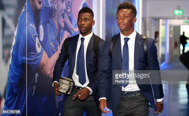 Kelechi Iheanacho and Demarai Gray arrives ahead of the Premier League match between Leicester City and Chelsea at King Power Stadium on September 09...