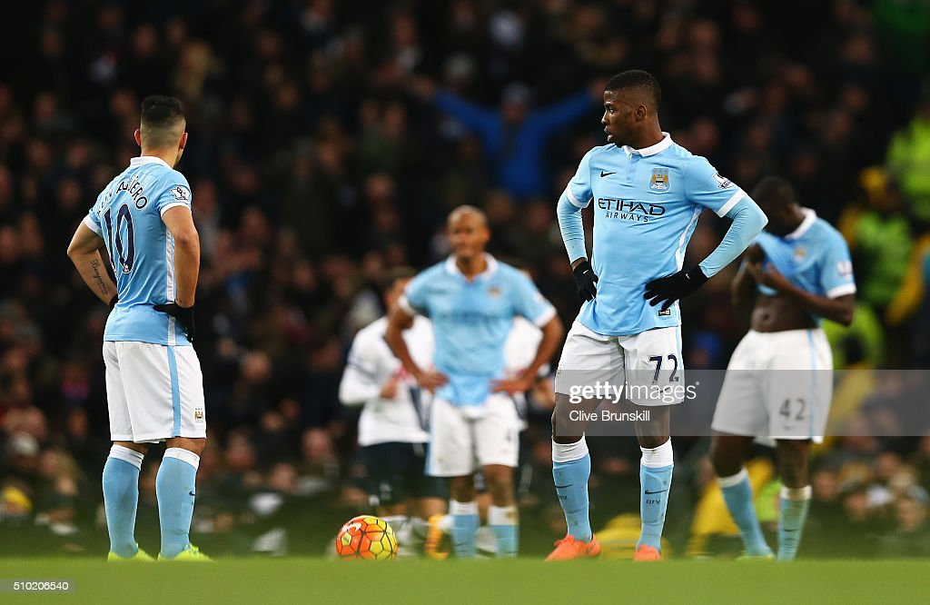 <a gi-track='captionPersonalityLinkClicked' href=/galleries/search?phrase=Kelechi+Iheanacho&family=editorial&specificpeople=11503326 ng-click='$event.stopPropagation()'>Kelechi Iheanacho</a> and <a gi-track='captionPersonalityLinkClicked' href=/galleries/search?phrase=Sergio+Aguero&family=editorial&specificpeople=1100704 ng-click='$event.stopPropagation()'>Sergio Aguero</a> of Manchester City look dejected after the second Spurs goal during the Barclays Premier League match between Manchester City and Tottenham Hotspur at Etihad Stadium on February 14, 2016 in Manchester, England.
