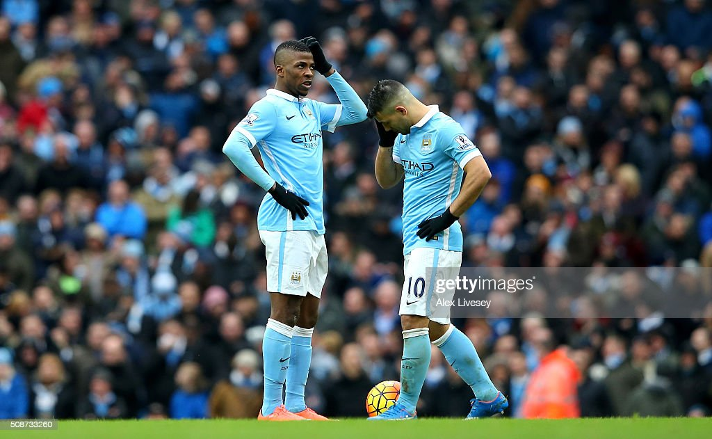 Kelechi Iheanacho (L) and Sergio Aguero (R) of Manchester City show their frustration after Leicester City's third goal during the Barclays Premier League match between Manchester City and Leicester City at the Etihad Stadium on February 6, 2016 in Manchester, England.