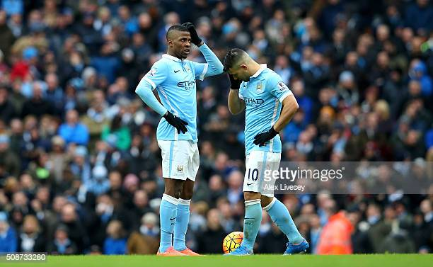 Kelechi Iheanacho and Sergio Aguero of Manchester City show their frustration after Leicester City's third goal during the Barclays Premier League...
