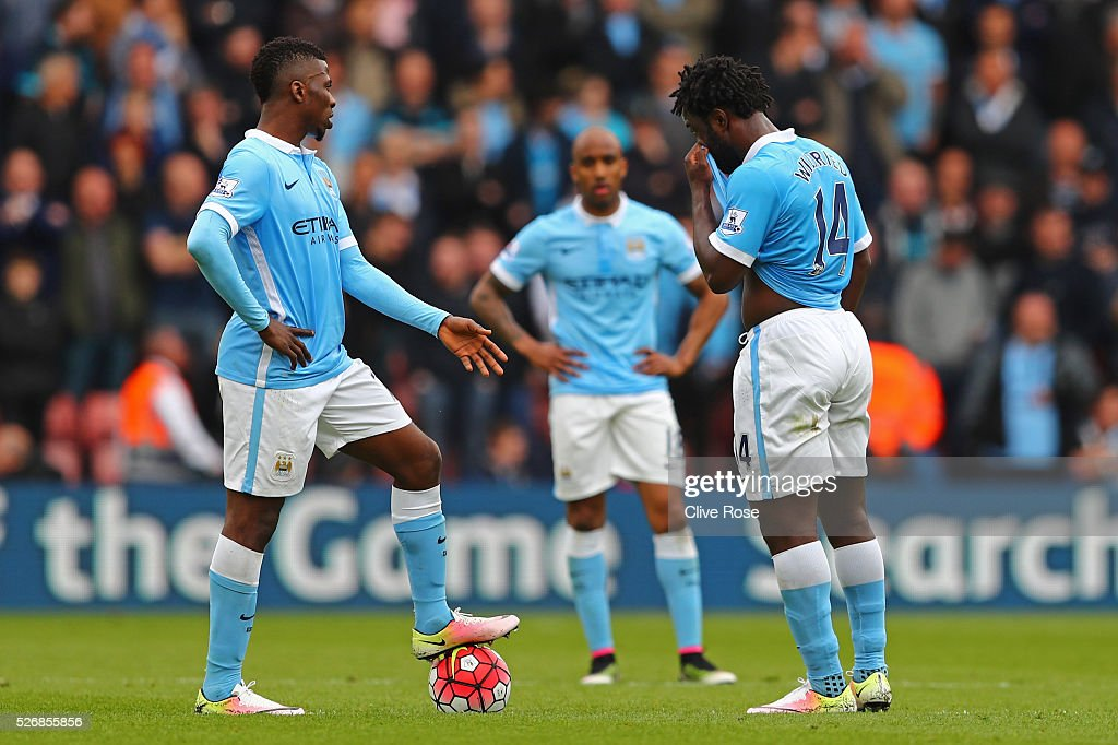 Kelechi Iheanacho (L) and Wilfried Bony of Manchester City look dejected during the Barclays Premier League match between Southampton and Manchester City at St Mary's Stadium on May 1, 2016 in Southampton, England.