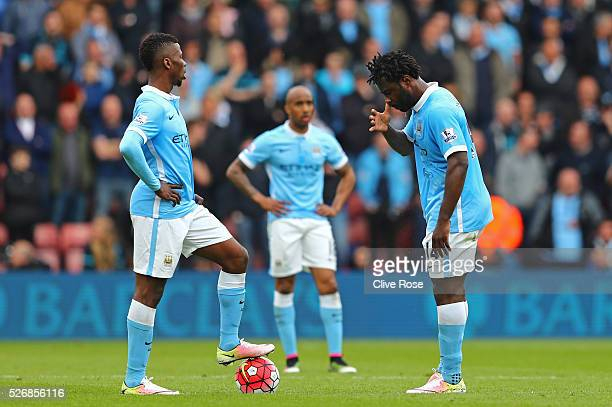 Kelechi Iheanacho and Wilfried Bony of Manchester City look dejected during the Barclays Premier League match between Southampton and Manchester City...