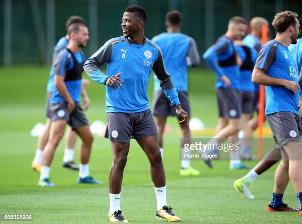 Kelechi Iheanacho during a Leicester City training session at Belvoir Drive Training Complex on August 24 2017 in Leicester United Kingdom